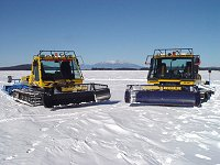 Bombardier snomobile trail groomers onsite